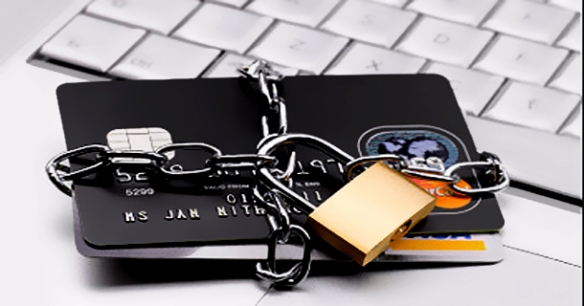 Credit cards chained up