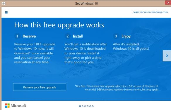 Windows 10 Upgrade Page 1